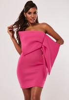 Missguided Pink Scuba Oversized Bow Bandeau Mini Dress