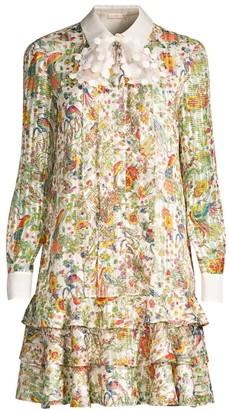 Tory Burch Floral-Print Stretch-Silk Shift Shirtdress