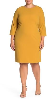 Sharagano 3/4 Sleeve Grommet Dress (Plus Size)