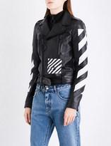 Off-White Ladies Black White Striped Exposed Zip Diagonal Stripes Leather Biker Jacket