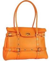 Fontanelli Orange Buckled Calf Leather Satchel Bag
