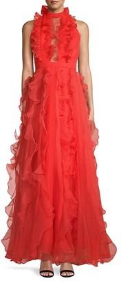 Flor Et. Al Augustus Highneck Ruffle Gown
