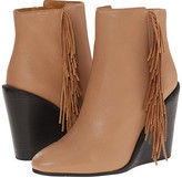 See by Chloe Pebbled Leather Wedge Bootie with A Fringe