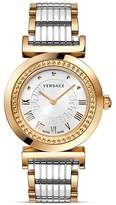 Versace Vanity Two Tone Round Stainless Steel and Rose Gold PVD Watch with Silver Sunray Dial, 35mm
