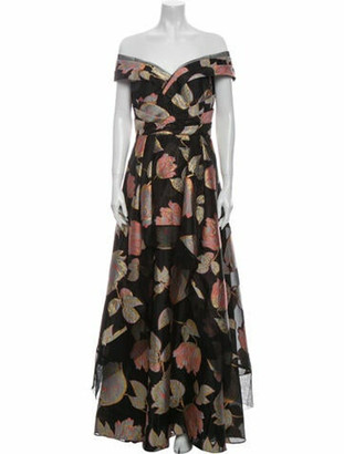 Aidan Mattox Floral Print Long Dress w/ Tags Black