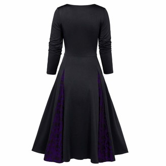 Amhomely Women Dresses Promotion Sale Clearance Women Oversize Halloween Skull Lace Insert Mock Button Bowknot Dress Plus Size Party Elegant Dresses Cocktail Evening Gowns UK Size Indian Beautiful