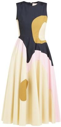 Roksanda Catia Abstract-panel Cotton-blend Midi Dress - Womens - Navy Multi