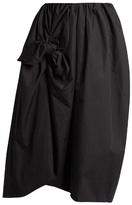 Simone Rocha Knotted gathered cotton-poplin midi skirt