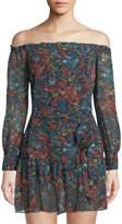 Sam Edelman Off-the-Shoulder Sash-Waist Mini Dress