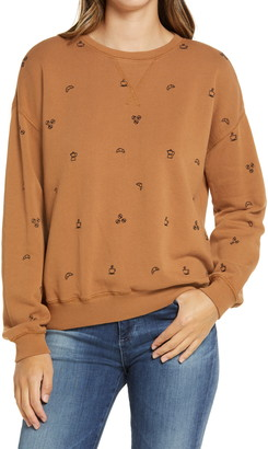 Lou & Grey Coffee Embroidered Sweatshirt