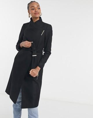 Ted Baker Rose wool wrap midi coat in black