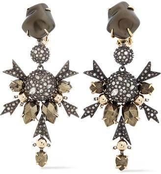 Alexis Bittar Gunmetal And Gold-tone Crystal Earrings