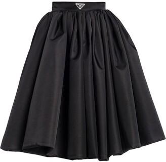 Prada Logo-Plaque Flared Skirt