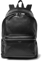 Saint Laurent City Perforated Leather and Canvas Backpack