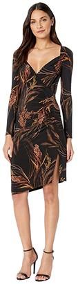 KAMALIKULTURE by Norma Kamali Long Sleeve Sweetheart Side Drape Dress to Knee (Wheat & Barley) Women's Dress