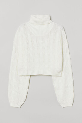 H&M Cable-knit Turtleneck Sweater - White