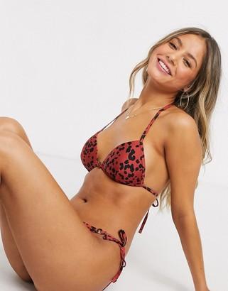New Look bikini top in rust abstract polka dot