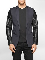 Calvin Klein One Ultra Slim Fit Faux Leather Sleeve Sateen Jacket