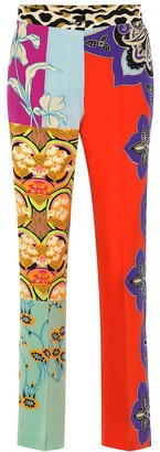 Etro Printed silk-crepe straight pants