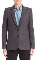 Vince Herringbone Textured Wool Blend Jacket