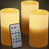 Black Friday Flameless Candles With Timer and Remote Perfect For Holiday Decoration - Real Looking Flickering LED Candles Battery Operated Set of 3 Same Size Candles Scented - 12 Different Colors