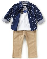 Nautica Baby Boys 12-24 Months Nautical-Printed Woven Shirt, Jersey Tee & Twill Pant Set