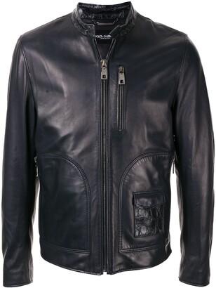 Dolce & Gabbana Press Stud Collar Biker Jacket