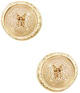 Kenneth Jay Lane Textured Filigree Button Earrings