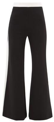 STAUD Side-stripe Wide-leg Jersey Trousers - Black White