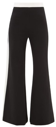 STAUD Side-stripe Wide-leg Jersey Trousers - Womens - Black White
