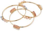 Carolee Set of 3 Gold-Tone Imitation Pearl and Multi-Color Bead Bangle Bracelets