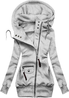 OPIAL Women's Solid Hooded Jacket Coat Outwear Long Sleeve Soft Warm Cardigan Hoodies Outfit(A-Gray S)