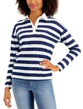 Style&Co. Style & Co Striped Rugby Shirt, Created for Macy's