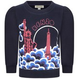 Kenzo KidsGirls Navy Statue Of Liberty & Eiffel Tower Sweater