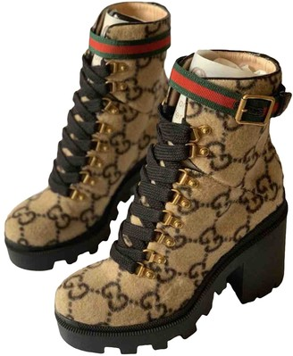 Gucci Sylvie Brown Suede Ankle boots