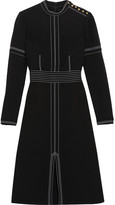 Burberry Stitched Wool And Silk-blend Crepe Dress - Black