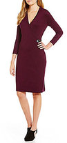 Calvin Klein Faux Wrap Side Buckle Sweater Dress