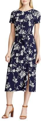 Chaps Floral Self-Tie Midi Dress