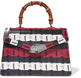 Gucci Lilith Bamboo Medium Embellished Elaphe Tote - Red