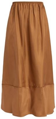 Mark Kenly Domino Tan Silk Nina Midi Skirt