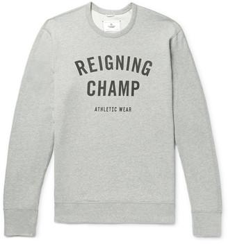 Reigning Champ Slim-Fit Logo-Print Melange Loopback Cotton-Jersey Sweatshirt