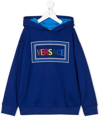 Versace logo-embroidered hooded sweatshirt