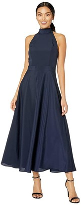 Tahari ASL Sleeveless Charmeuse Maxi Halter Dress (Navy) Women's Dress