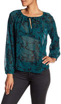 Lucky Brand Marble Printed Blouse