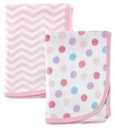 Luvable Friends 2 Piece Cotton Receiving Blankets, Pink Dots by