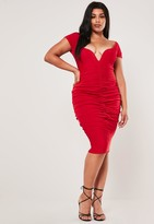 Missguided Plus Size Red Ruched Bardot Midi Dress