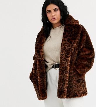 Asos DESIGN Curve animal faux fur coat