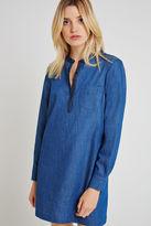 BCBGeneration Henley A-Line Denim Dress - Blue
