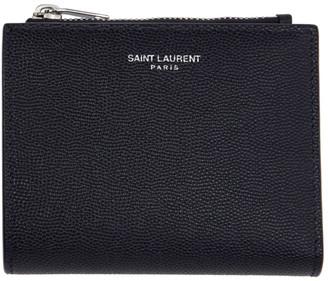 Saint Laurent Navy Zipped Card Holder