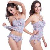 jhlkjrtvb New Women's Bandage Tankini Set Push-up Padded Bra Swimsuit Bathing Suit Swimwear (L, )